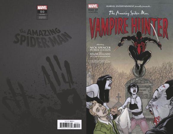 AMAZING-SPIDER-MAN-50-KUDER-SPIDER-MAN-VAMPIRE-HUNTER-HORROR-VARIANT Marvel Comics will issue timely Horror Variant covers this October