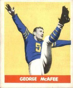 george-mcafree-e1621012989885-250x300 Sport Card Collecting 101: 1948 Leaf Football Kicks Off Football Card Collecting!