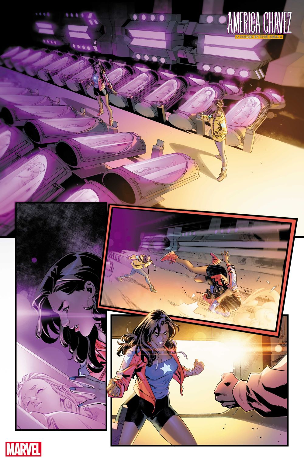 AMERCHAVEZUSA2021004_1 First Look at AMERICA CHAVEZ: MADE IN THE USA #4 from Marvel Comics