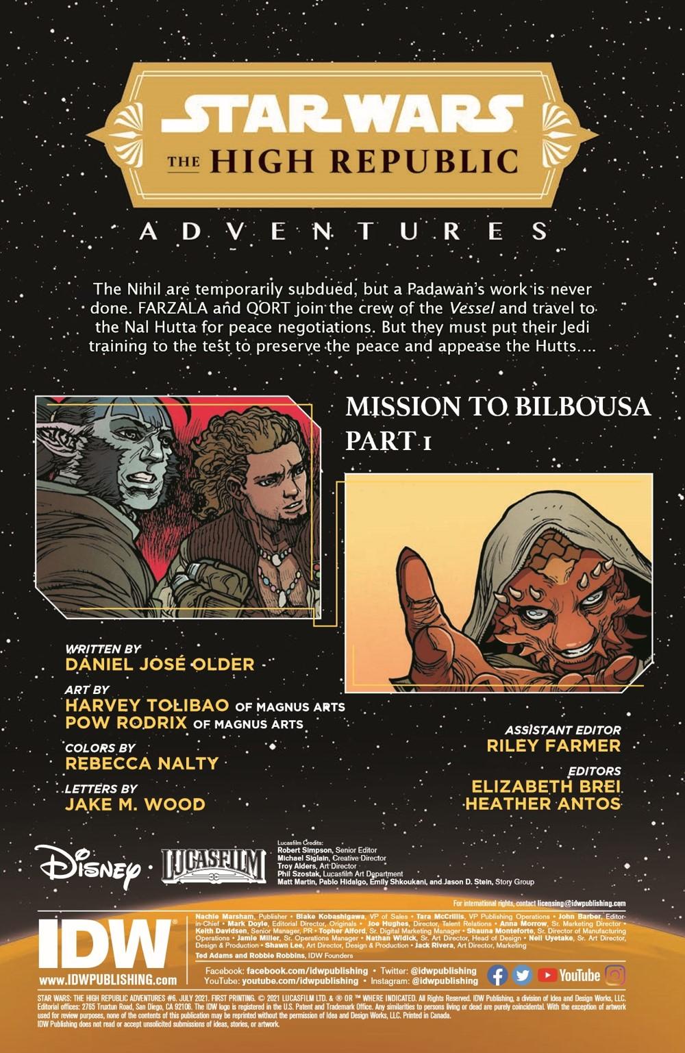 SWAHRA06-pr-2 ComicList Previews: STAR WARS THE HIGH REPUBLIC ADVENTURES #6