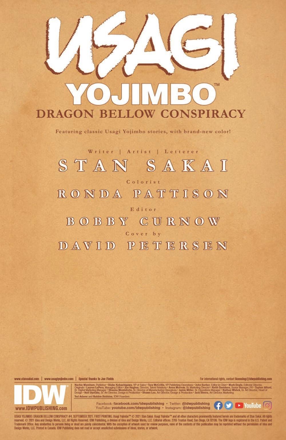 Usagi-DBC04_pr-2 ComicList Previews: USAGI YOJIMBO THE DRAGON BELLOW CONSPIRACY #4 (OF 6)
