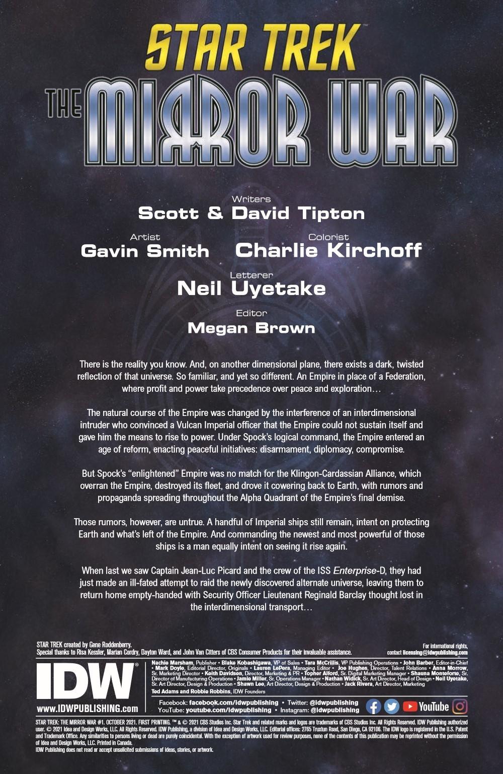 ST_TMW01-pr-2 ComicList Previews: STAR TREK THE MIRROR WAR #1