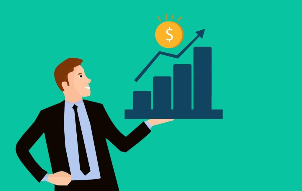Gráfico de aumento de beneficios gracias a las app de inversión
