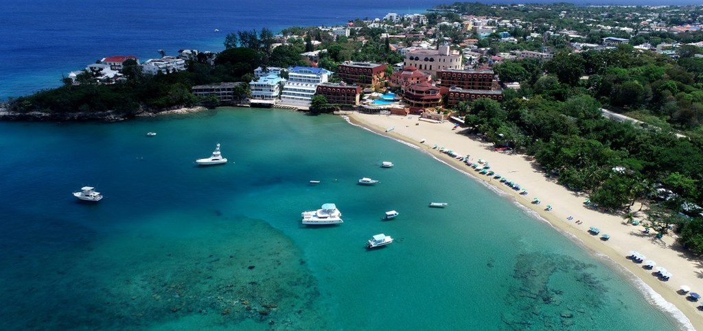 aerial view of Sosua beach, courtesy of Golden Treasures.
