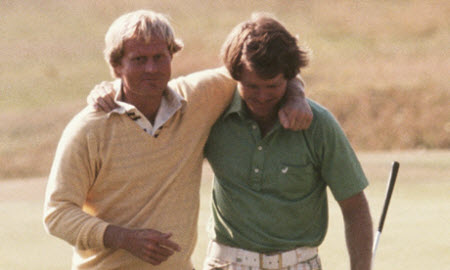 Jack Nicklaus and Tom Watson at the 1977 British Open, image: theguardian.com