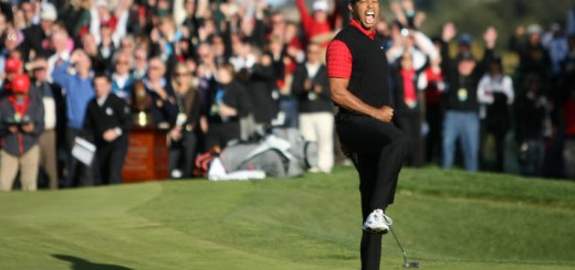 Tiger Woods Celebrates after a Win, image: golfweek.com