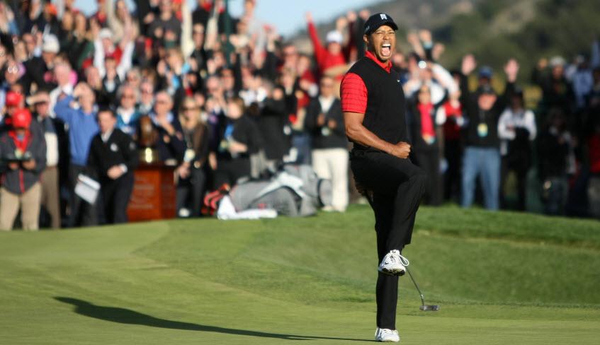 Tiger Woods Celebrates after a Win, image: golfweek.com