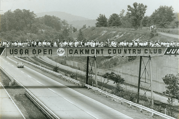 The Bridge Over the Pennsylvania Turnpike during the 1962 U.S. Open at Oakmont CC, image: sbnation.com