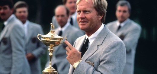 Jack Nicklaus Holds the Ryder Cup Trophy, image: golfdigest.com