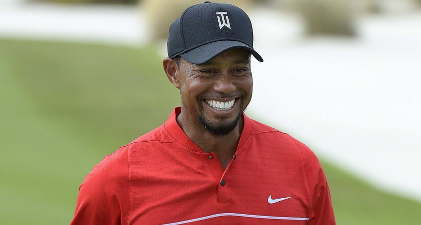 Tiger Woods Smiling at the 2016 Hero World Challenge, image: golfweek.com