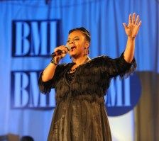 "Sheri Jones Moffett singing ""I Almost Let Go""(Photo Credit: BMI)"