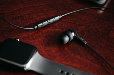Grado iGe In-Ears with Mic & Remote on Red Desk