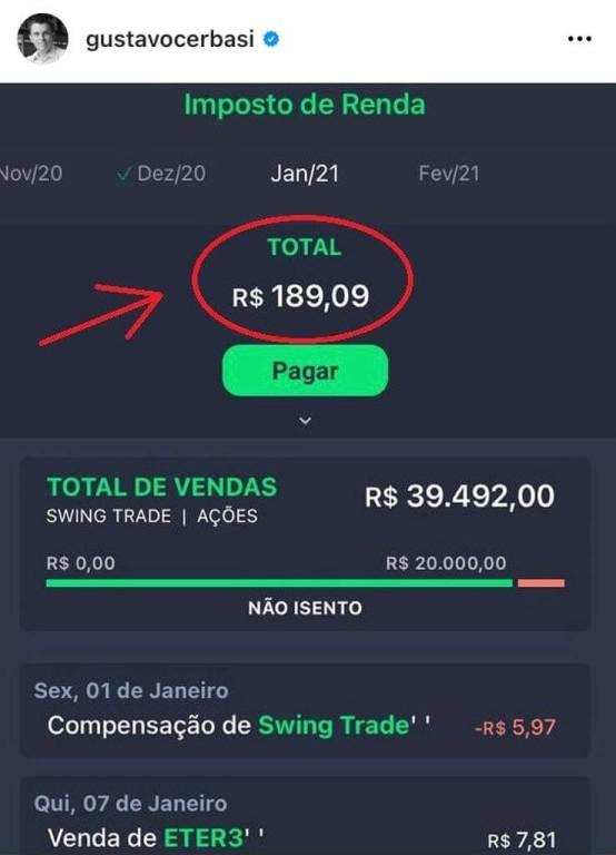 Post de Gustavo Cerbasi no Instagram indicando o app Grana para ajuda no Imposto de Renda de ações.