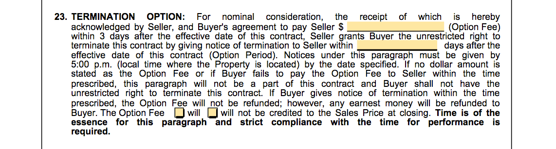 termination option period real estate contract