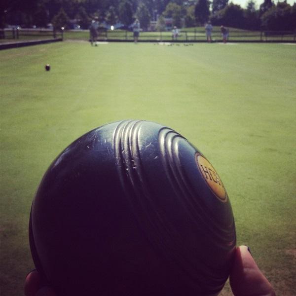 "A lawn bowling ball, or ""bowl"" Photo by adventuremomblog.com"