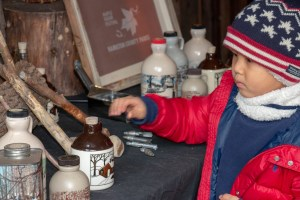 A young boy interacts with hands-on displays about the history of maple syrup at Maple Sugar Days in 2019.