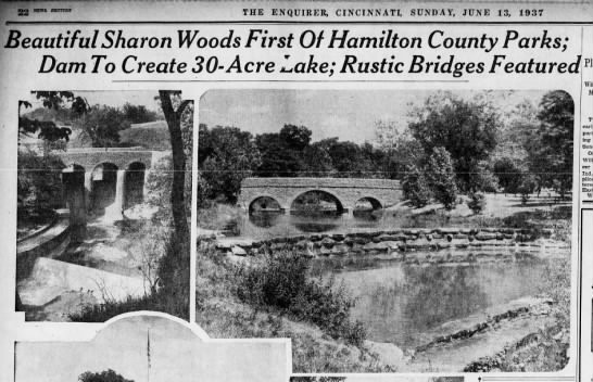 An article from the June 13, 1937 edition of the Cincinnati Enquirer highlighting the construction at Sharon Woods.