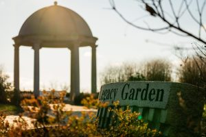 The Legacy Garden at sunset