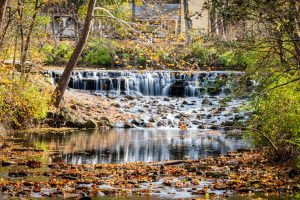 Buckeye Falls at Sharon Woods is surrounded by trees and fall foliage. Leaves change from green to orange, red and yellow.