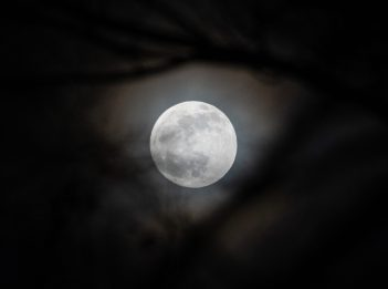 A bright full moon shines at night over Winton Woods in January 2020.
