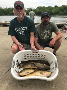 Doug Swafford and Donavan York show off the five fish they caught during the Rod Busting Tournament.