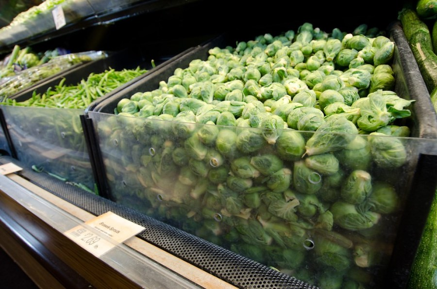 Brussel sprouts available for purchase at the grocery store.