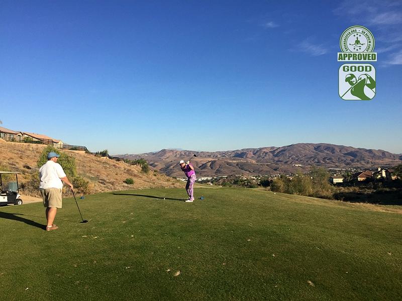 Champions Club at the Retreat Corona, California. Broomy tees off