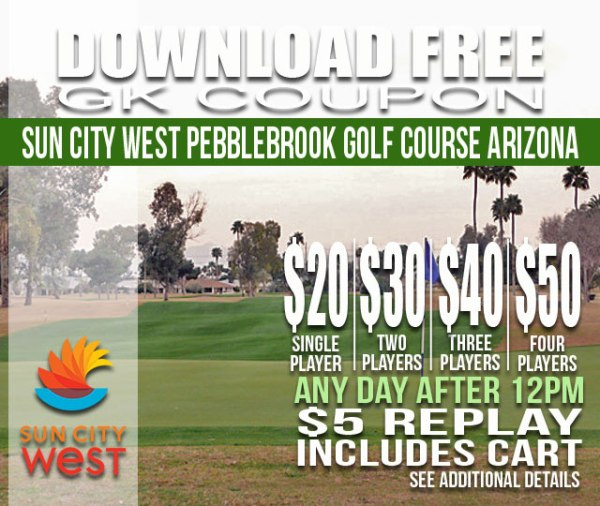 Sun City West Pebblebrook Golf Course Arizona GK Coupon