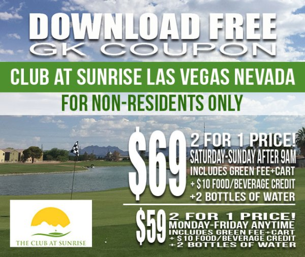 Club at Sunrise Las Vegas Nevada Non-Resident Golf GK Coupon