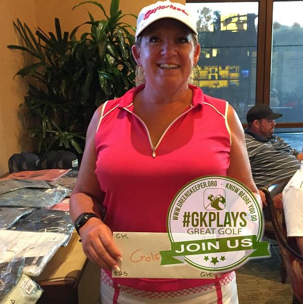 Yocha Dehe Golf Club Brooks CA Dixie Aker sports her GOLFMOOSE SWAG