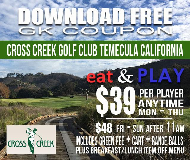 CrossCreek Golf Club Temecula California Eat & Play GK Coupon