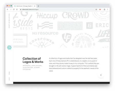 the logo collection on alex coven's portfolio site
