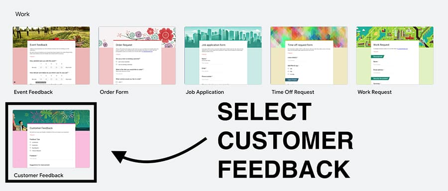 customer feedback form template in google forms