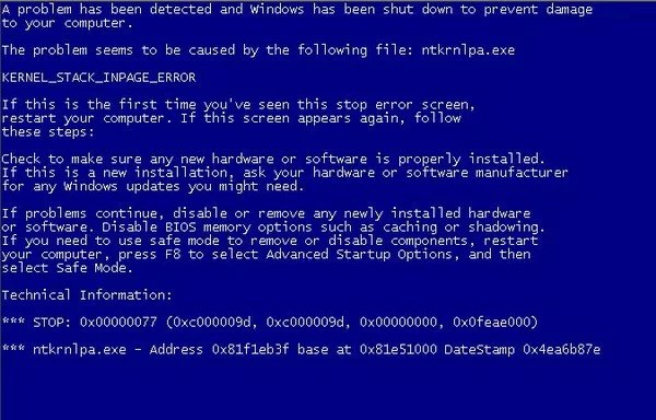 blue screen PC