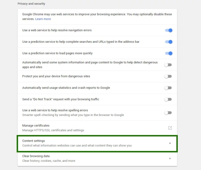 Disable push notifications in Chrome - step 2