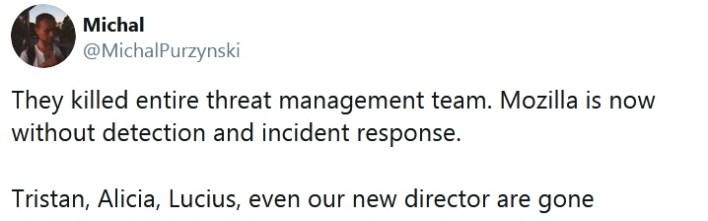 Mozilla downsizing security professionals