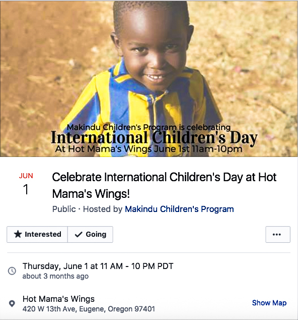 Makindu's fundraising event on Facebook