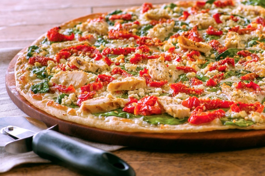 Delicious pizza with chicken and red peppers at a Papa Murphy's fundraising event