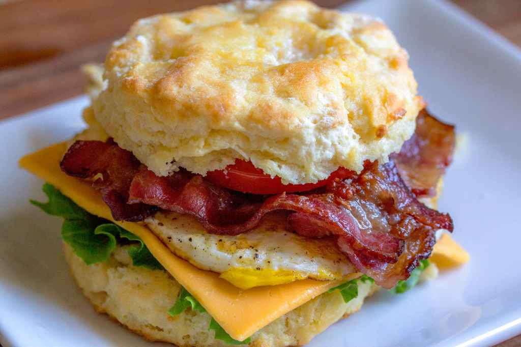 Breakfast sandwich with egg, bacon, and cheese at a Chick Fil A Spirit Night