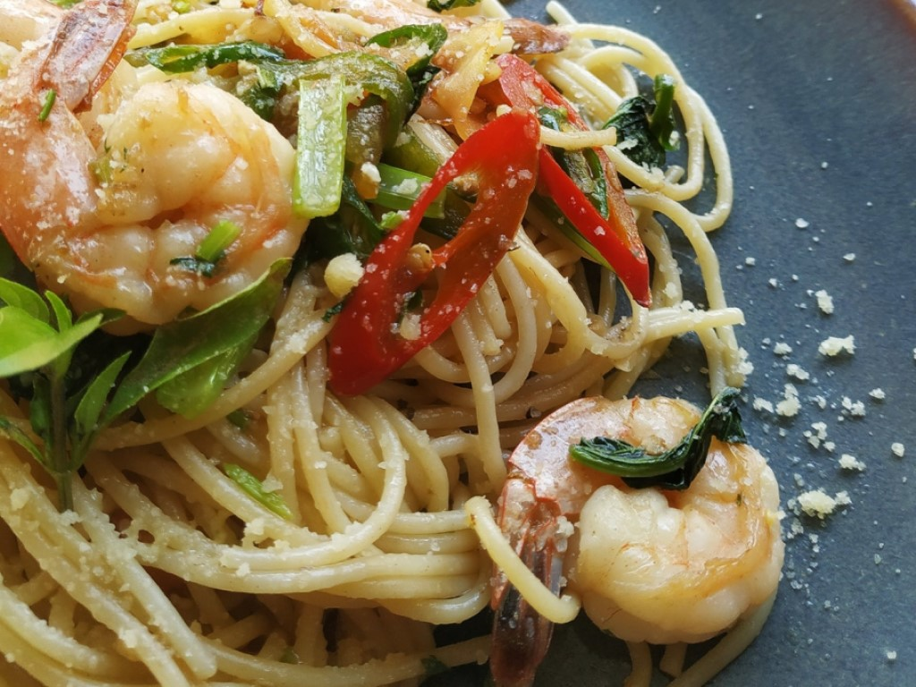 Plate of delicious pasta with shrimp at a Houlihan's fundraising event