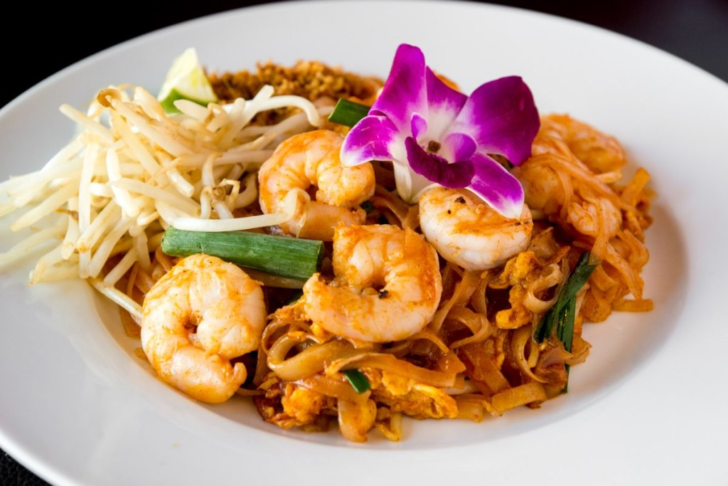 Asian noodles with shrimp at an Emporium Thai fundraising event