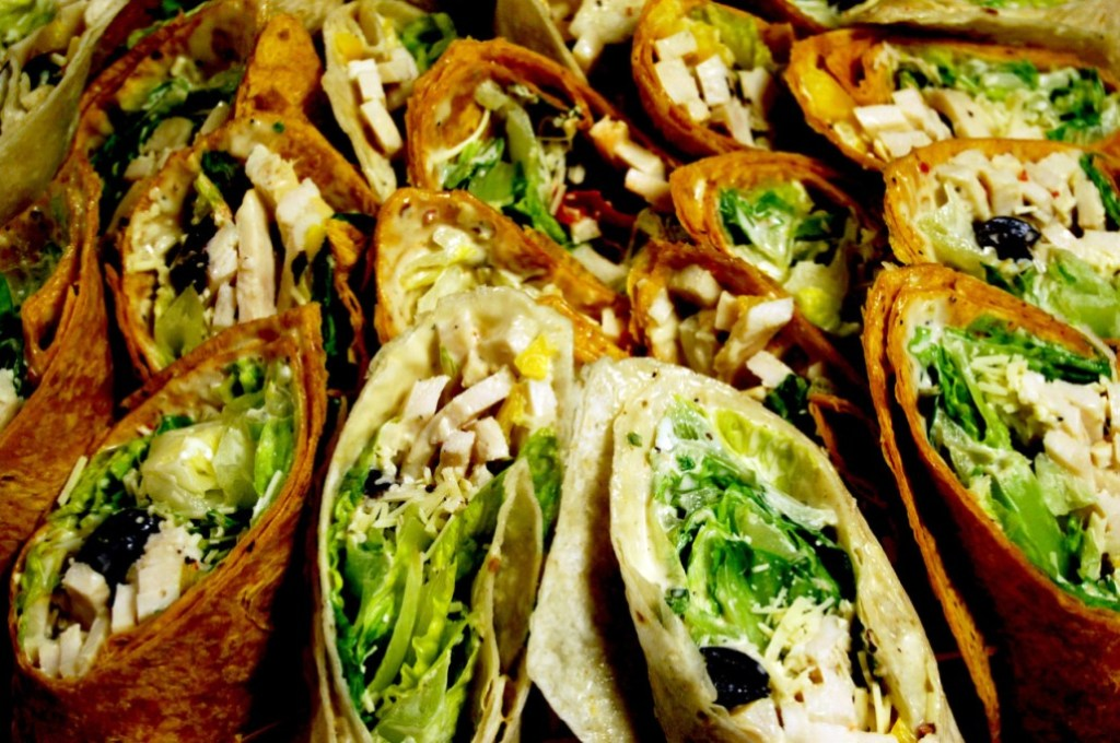 Many delicious green wraps at a Salads Up fundraiser