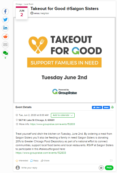 Screenshot of Takeout for Good listing on Patch.com