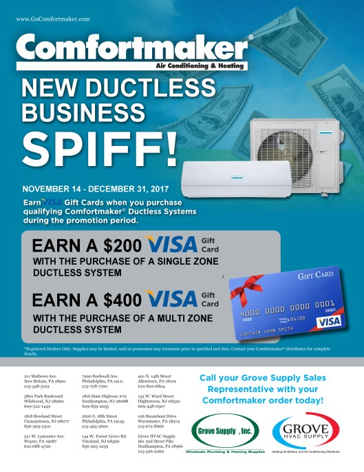 2017-Promos-Comfortmaker Ductless-NEW BUSINESS