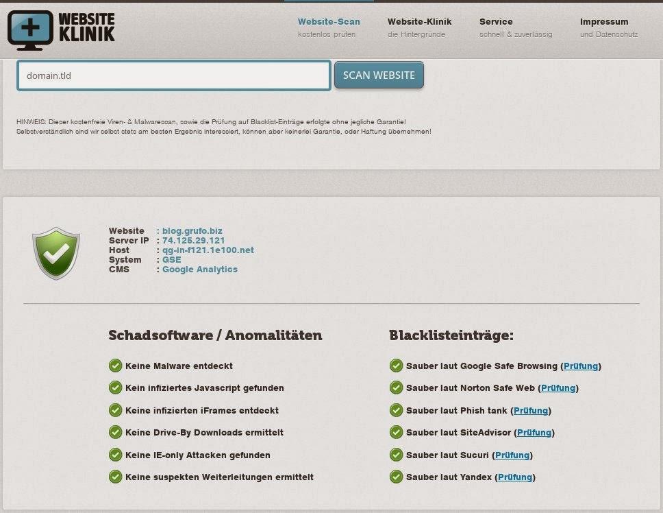 Eigene Webseite auf Infektion prüfen (Online Scanner)
