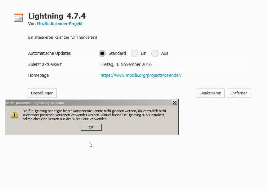 Thunderbird/Lightning Fehlermeldung – die binäre Komponente konnte nicht geladen werden