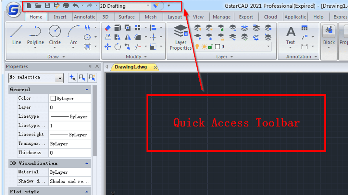 How to customize the Quick Access Toolbar in GstarCAD