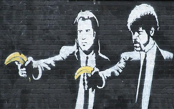 street artists, banksy, banksy pulp fiction, street art
