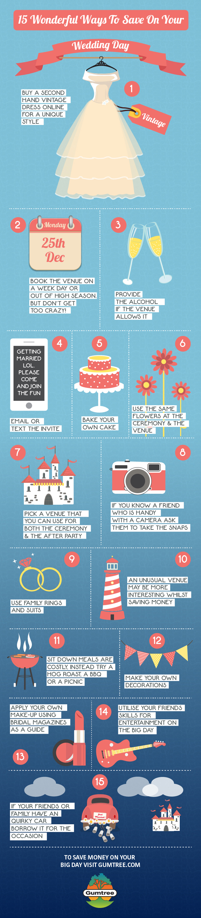 A Gumtree graphic - 15 Money Saving Tips For Your Wedding Day
