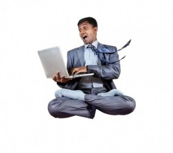 business man levitating